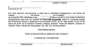 Credencial de presunto delegado al I Congreso Estatal de PAAE marzo 2016