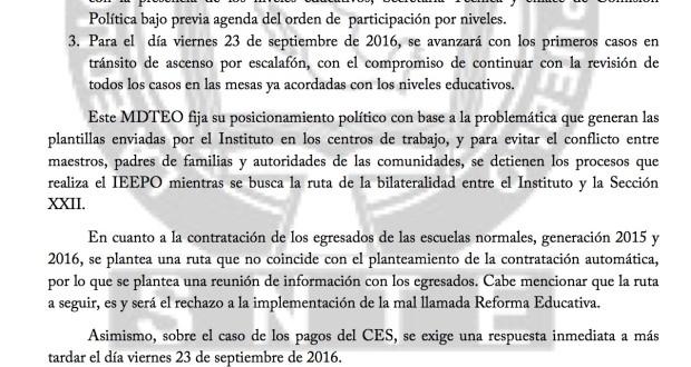 COMUNICADO 3  A LAS BASES SOBRE MESA LABORAL - 22 septiembre 2016