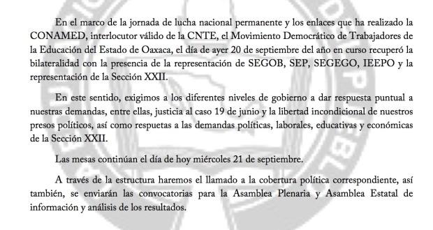 COMUNICADO Al mdteo- 21 septiembre 2016