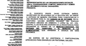 Convocatoria de la Sría de relaciones para la reunión de organización el 8 de octubre de 2016