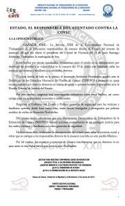 Boletín - ESTADO EL RESPONSABLE DEL ATENTADO CONTRA LA COVIC - 6 marzo 2017