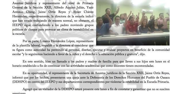 Boletín - IEEPO RESPONSABLE DEL CONFLICTO EN PRIMARIA PAUL PERCY HARRIS - 26 marzo 2017