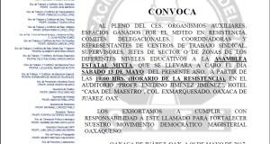 Convocatoria para la Asamblea Estatal Mixta el día sábado 13 de mayo de 2017