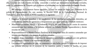 Boletín - ALTO A LA REPRESIÓN EN CONTRA DE LAS NORMALES DEL PAÍS - 09 junio 2017