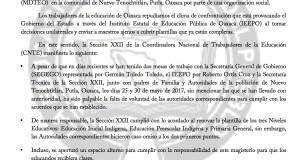 Boletín - FUERA PERSONAL AJENO POR PROVOCAR CONFLICTOS EN PUTLA - 22 JUNIO 2017(1:2)