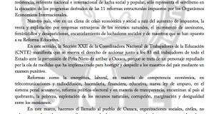 Boletín - SECCIÓN XXII RECHAZA PRESENCIA DE EPN EN OAXACA - 4 septiembre 2017