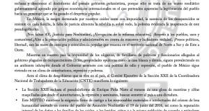 Boletín- SECCION XXII RECHAZA EL PSEUDO INFORME DE EPN - 1 SEPTIEMBRE 2017 bole