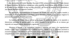 Boletin - LIBERTAD INMEDIATA A LOS DETENIDOS Y PRESENTACION DE LOS DESAPARECIDOS - 7 septiembre 2017