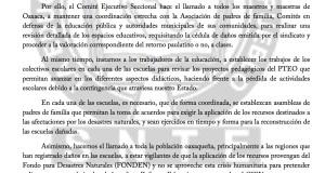 Boletin -  exige sección XXII  revisión de escuelas por daños  - 25 septiembre 2017