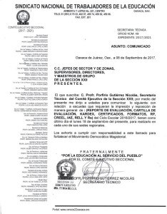 Comunicado de la Secretaría Técnica 8 septiembre 2017