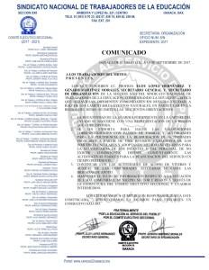 Comunicado de la Secretaría de Organización 10 sepriembre 2017