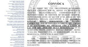 Convocatoria para la Asamblea Estatal Mixta el día sábado 22 de septiembre de 2017