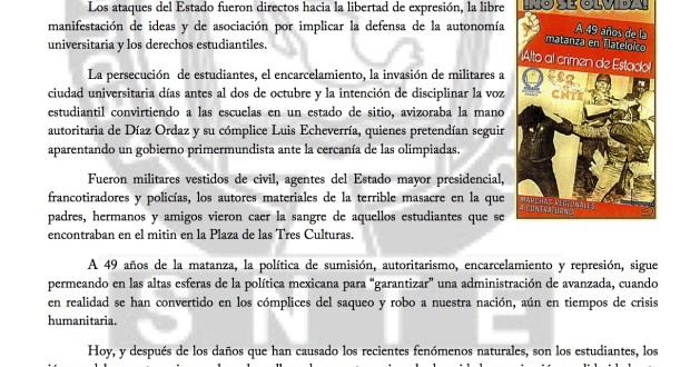 Boletin - DOS DE OCTUBRE NO SE OLVIDA - 2 octubre 2017