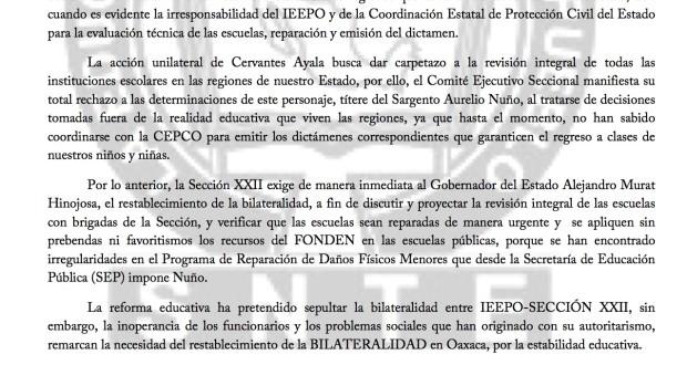 Boletin - IRRESPONSABLE QUE IEEPO ORDENE REGRESO MIENTRAS CEPCO NO OPERA DICTÁMENES  - 15 octubre 2017