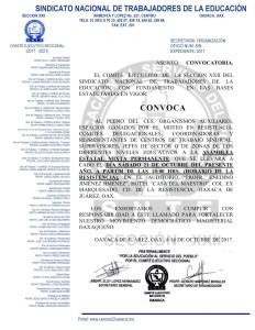 Convocatoria para la Asamblea Estatal Mixta Permanente el día sábado21 de octubre de 2017