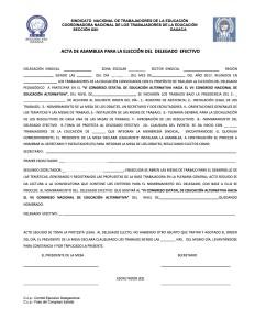 Acta de Asamblea para elección del delegado efectivo al VI Congreso Estatal de Educación Alternativa  diciembre 2017
