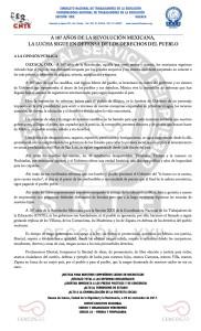 Boletín - A 107 años de la Revolución Mexicana la lucha sigue en defensa de los derechos del pueblo- 20 noviembre 2017