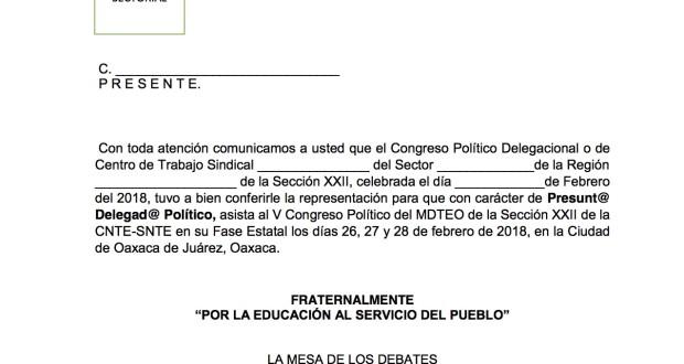 Credencial de Presunto Delegado rumbo al V Congreso Político febrero 2018