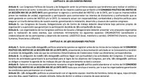 Reglamento interno del V Congreso Político febrero 2018
